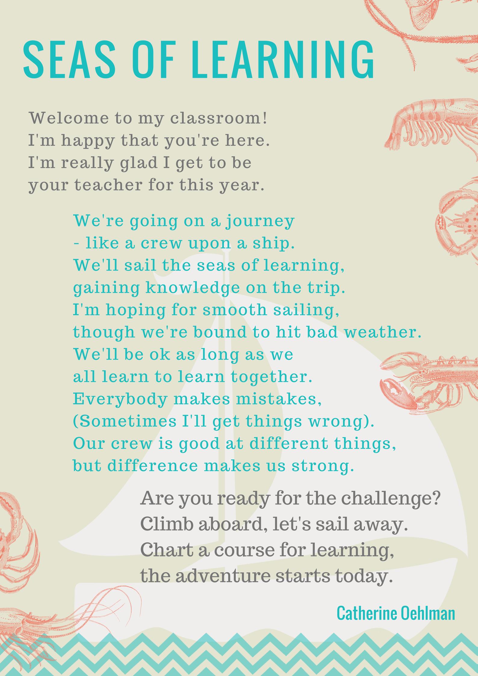 seas of learning free teacher poem squigglebooks